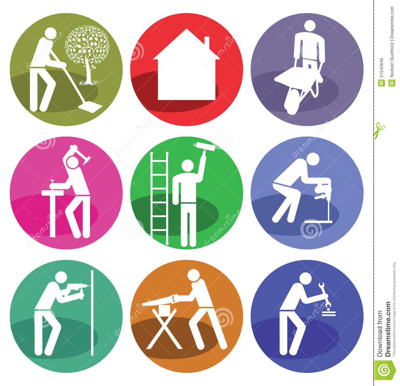 Home Improvement Icons Stock Photo - Image: 51542645