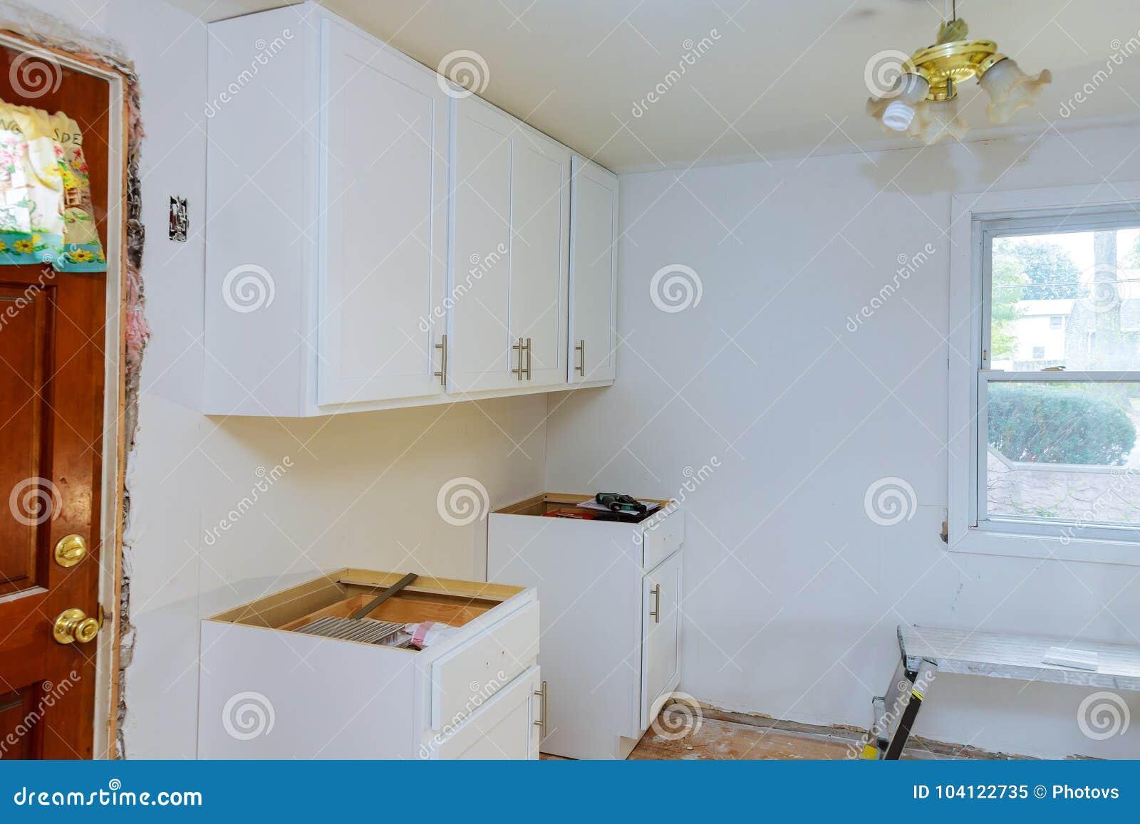 Installing New Modern Kitchen Setup Cabinate Kitchen Stock Image