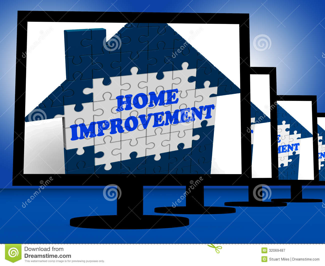 home improvement on monitors shows home design shows royalty free