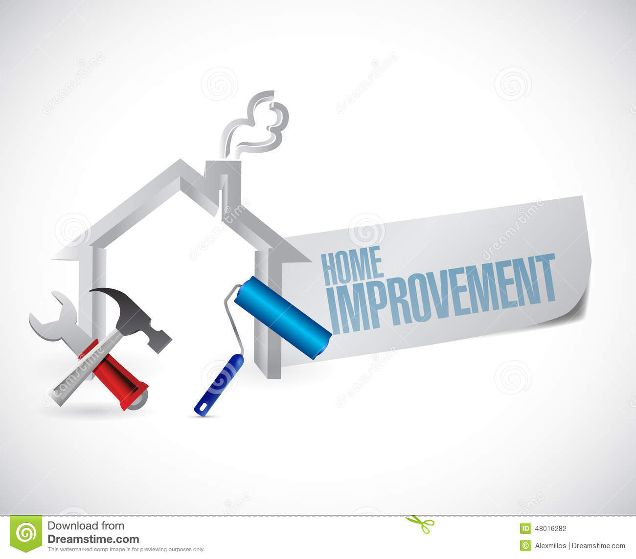 Home improvement sign and tools stock illustration - Home improvement design ...