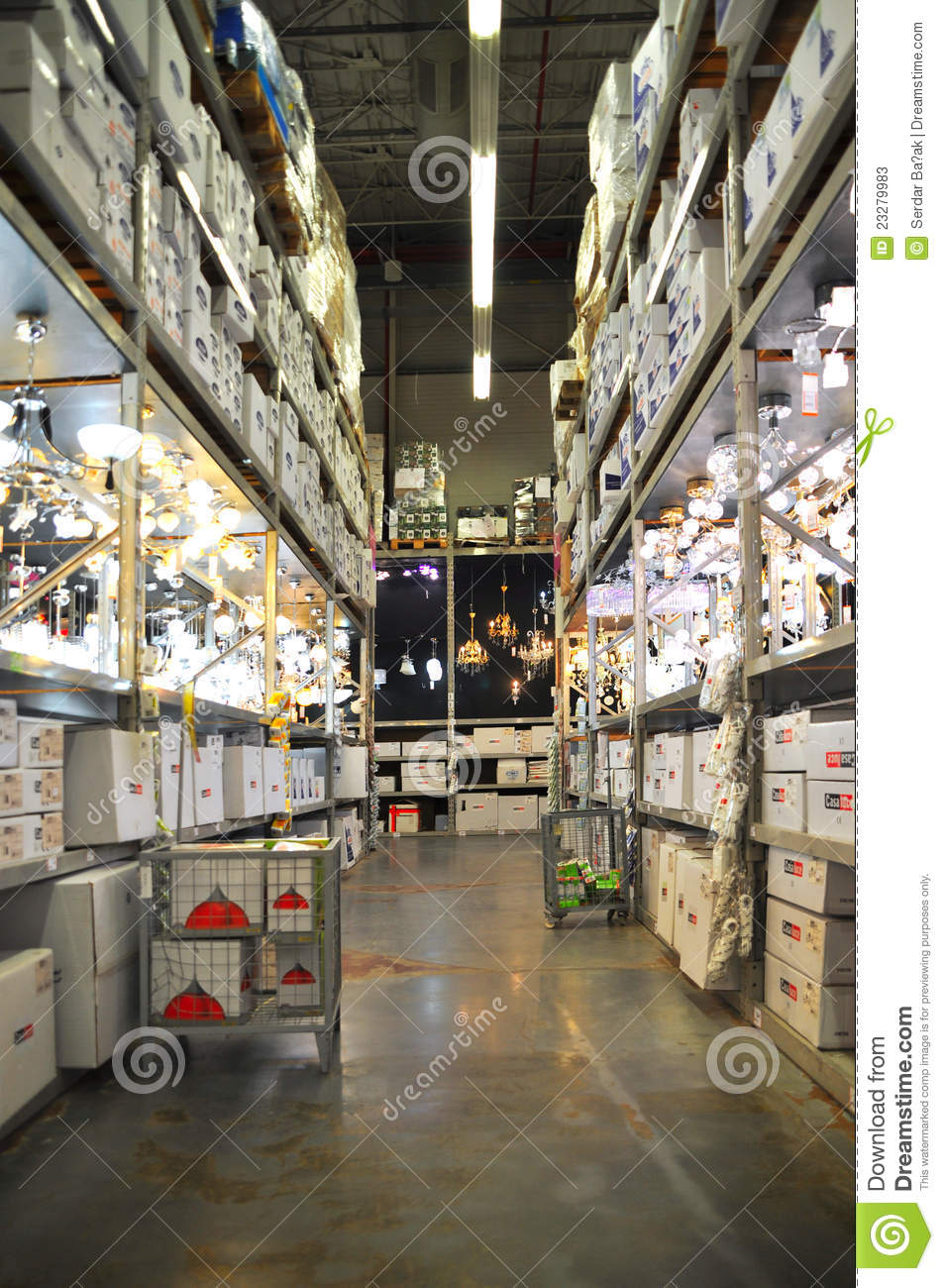 Koçtaş, home improvement store, large warehouse, lamp section.