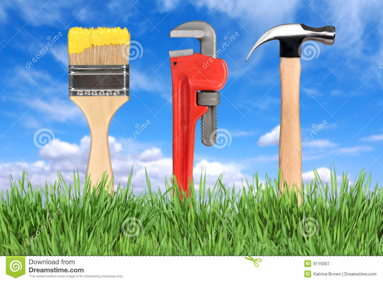 Home improvement tools paintbrush pipe wrench royalty for House remodeling tools