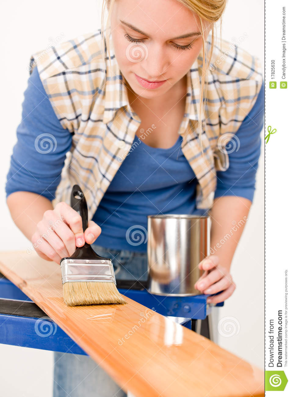 Home improvement woman painting wooden plank royalty for A to z home improvements
