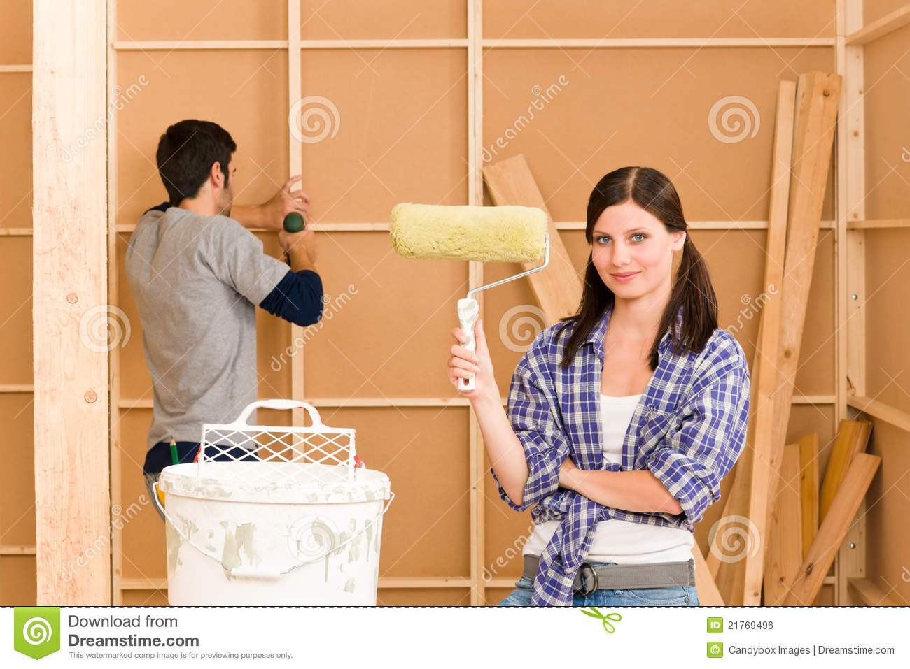 Home improvement young couple fixing new house royalty free stock image image 21769496 - Young couple modern homes ...