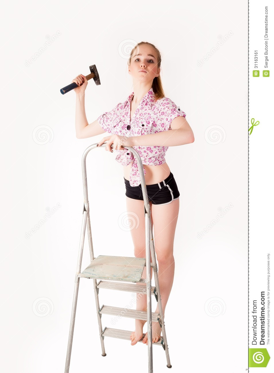 Use This Advice To Accentuate Your Own Home home-improvements-girl-ladder-hammer-her-hand-31163161