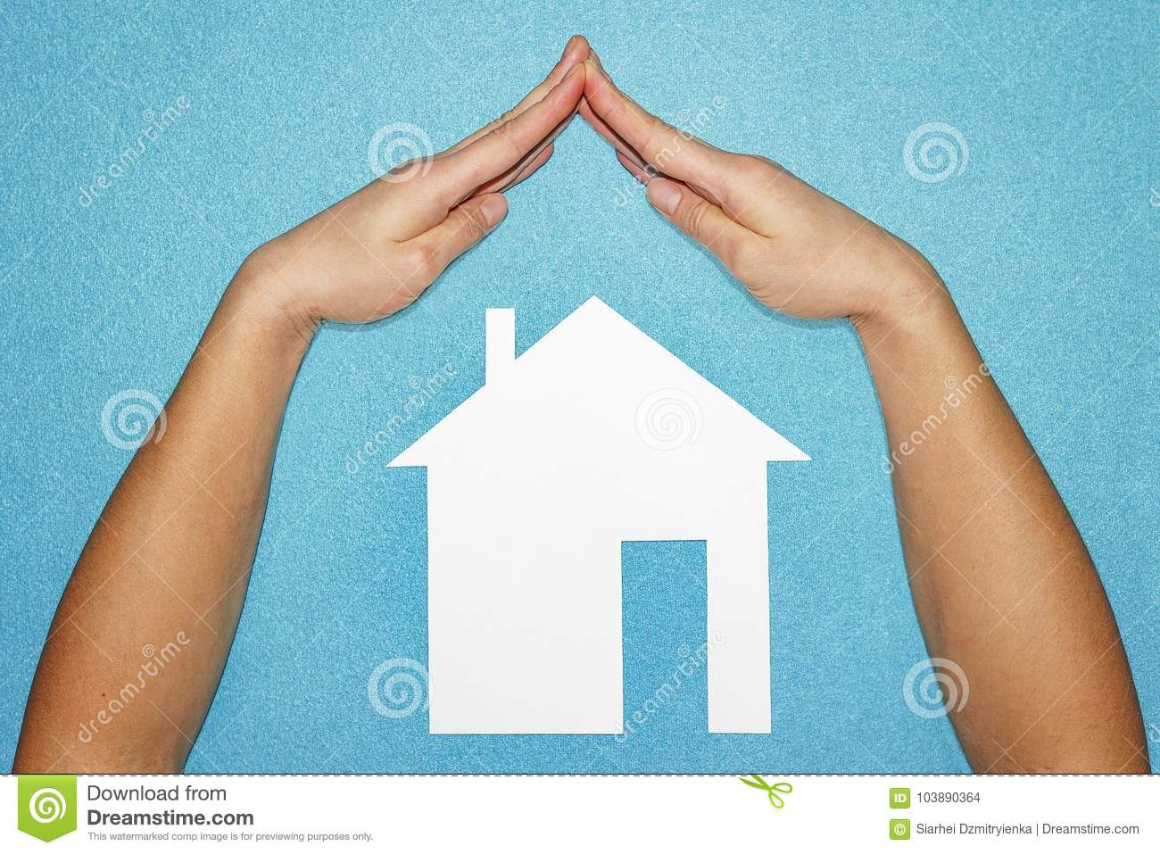 Home insurance concept. Hands in form of roof over house of white paper on blue background