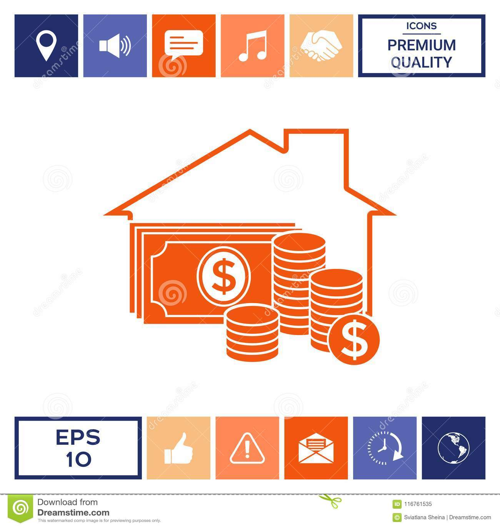 Home insurance icon stock vector. Illustration of dollar ...