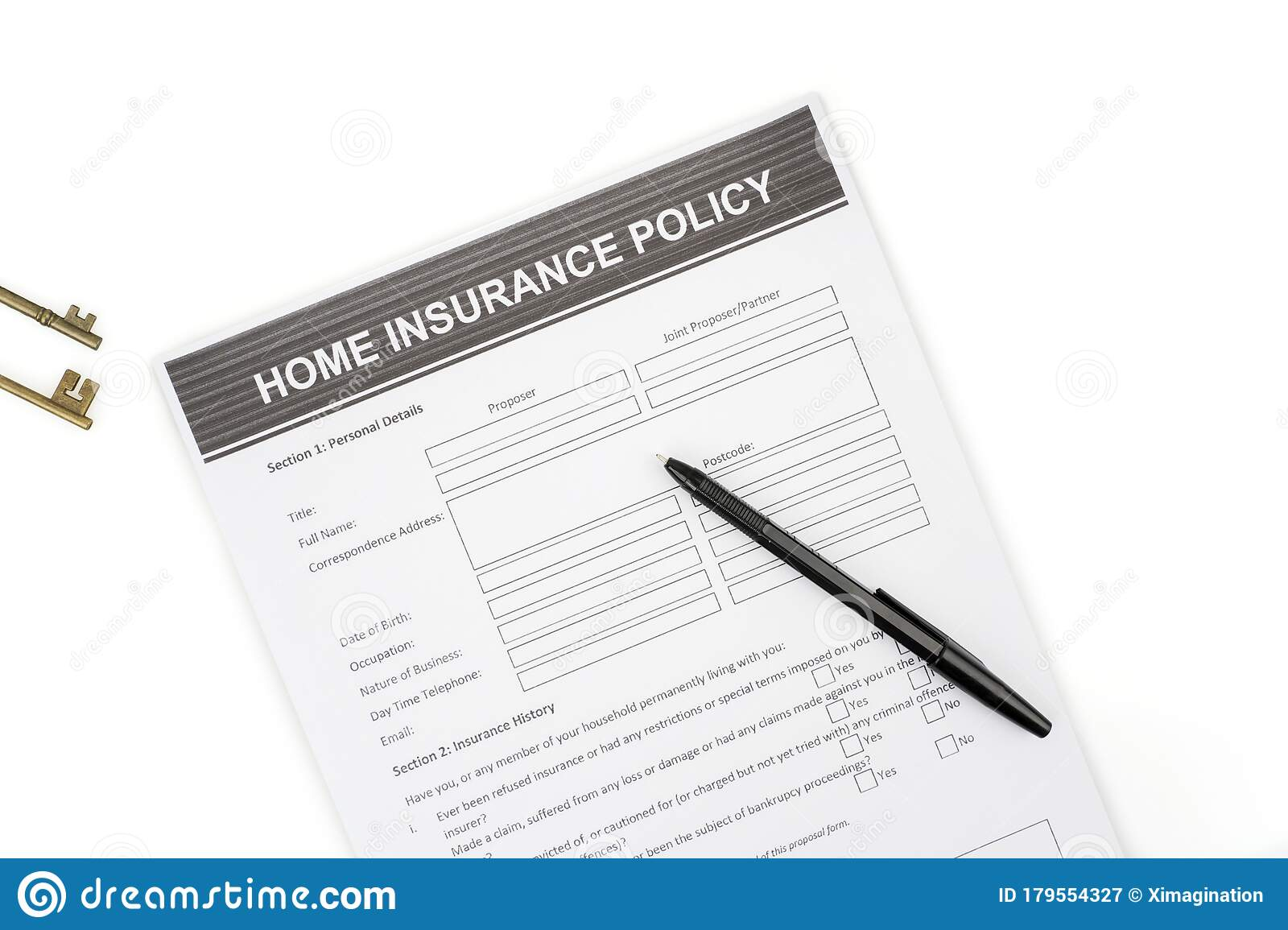 Home Insurance Policy Form With Pen And Home Key Stock ...
