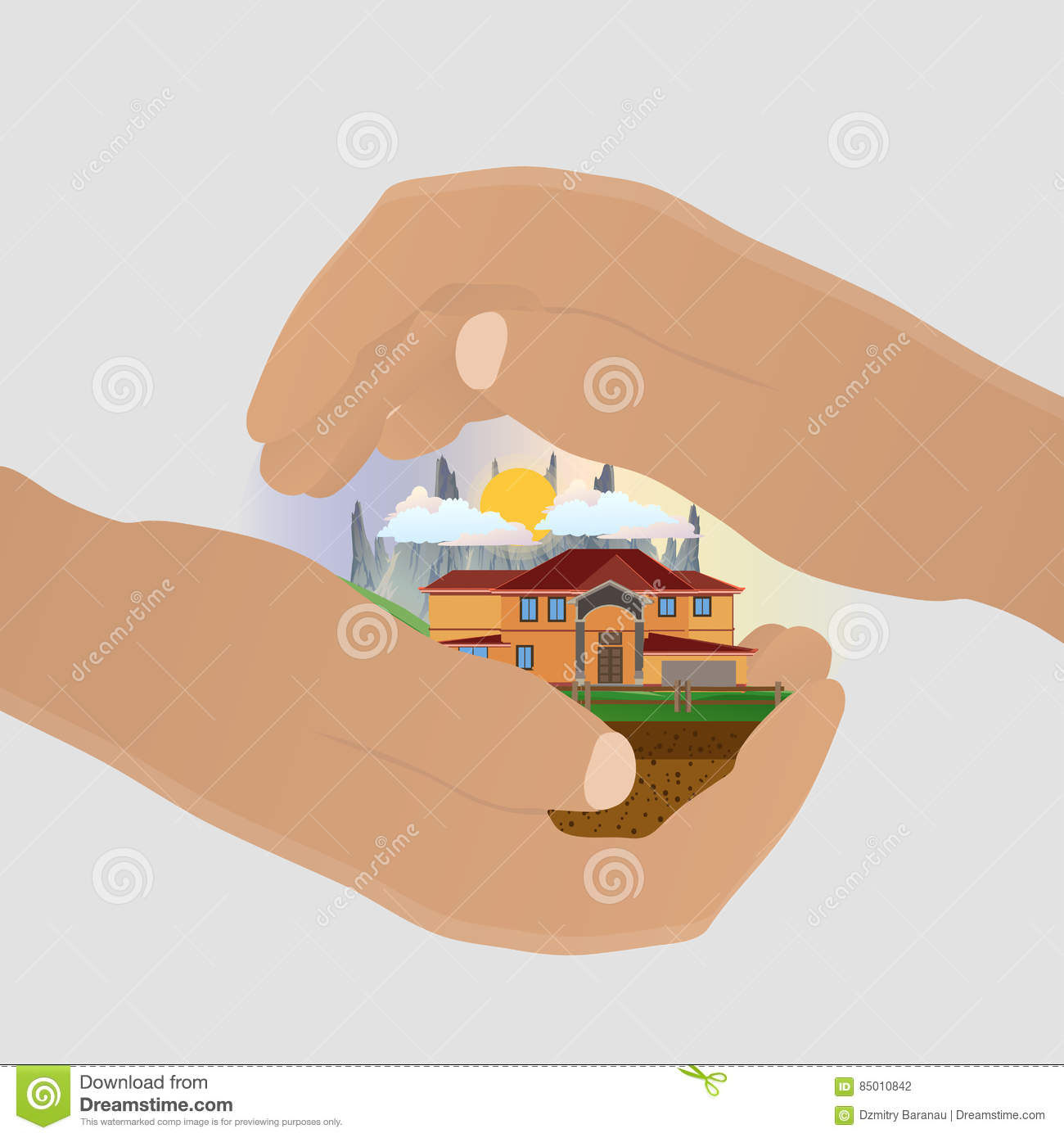 Home Insurance Safety Symbol Protected Hand From Danger Vector