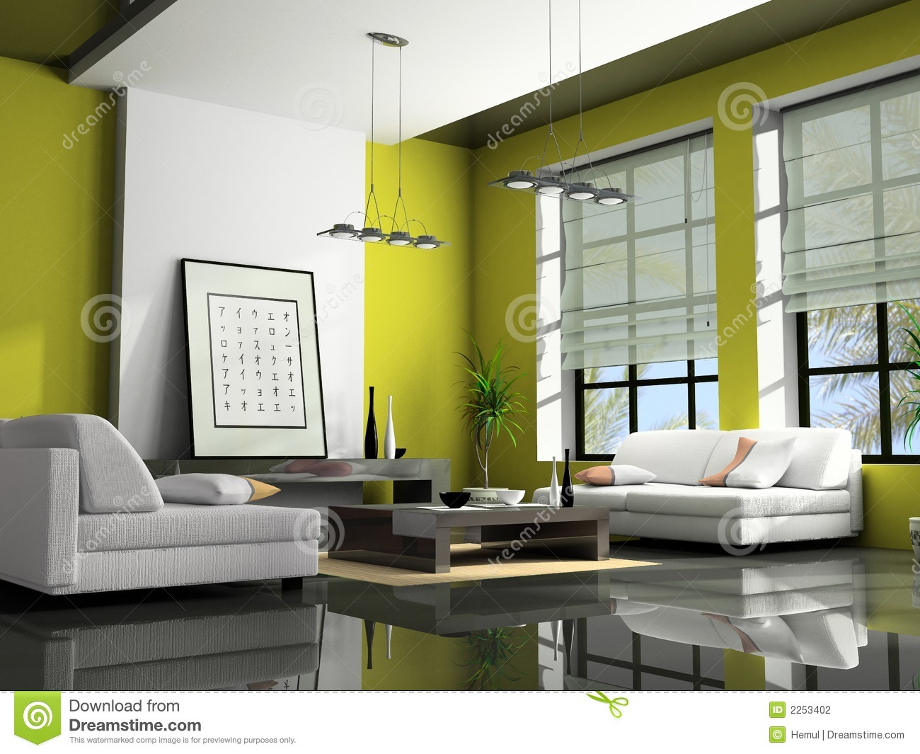 Home Interior 3d Rendering Stock Photo Image Of