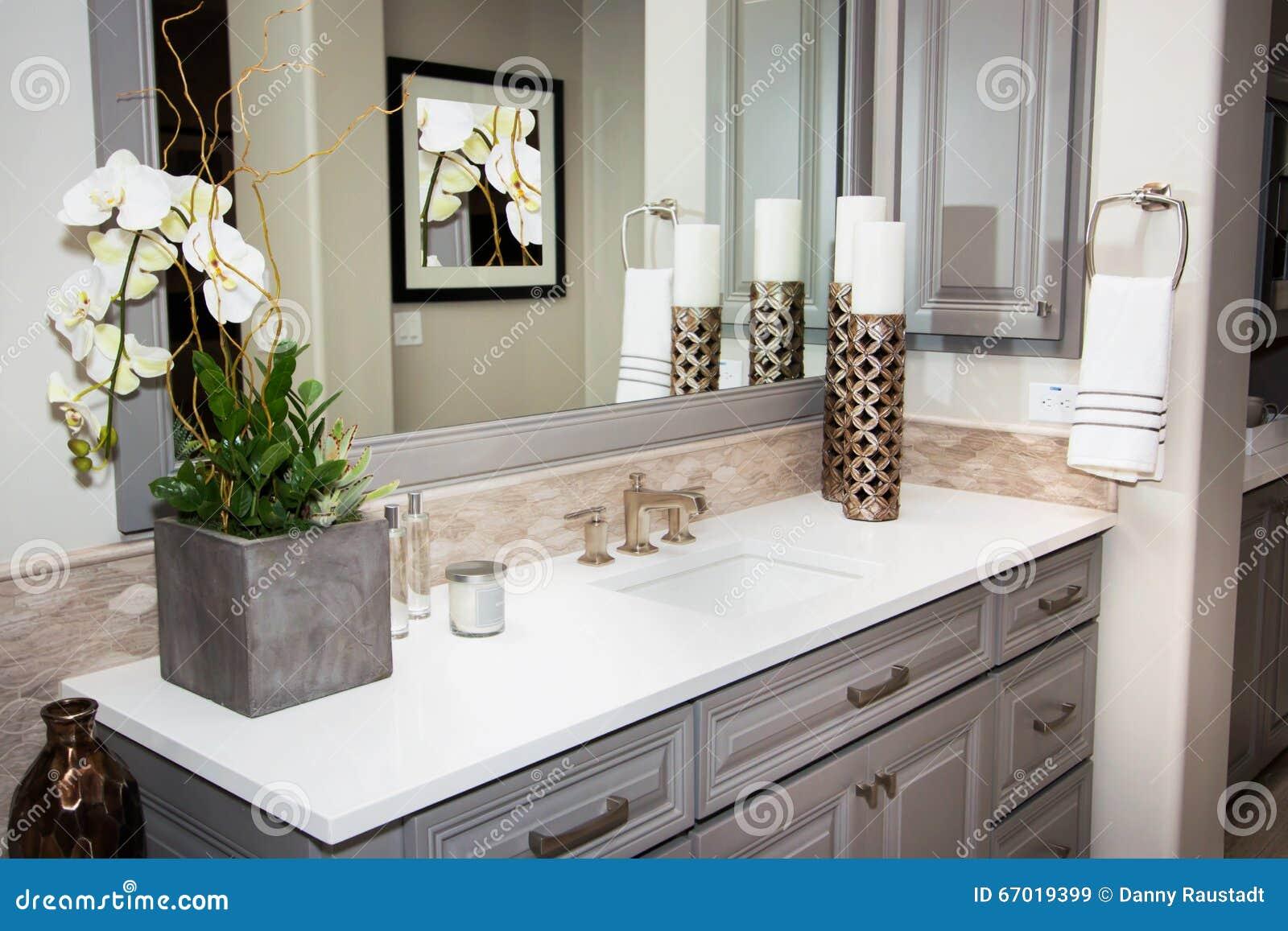 Home interior bathroom mirror and sink