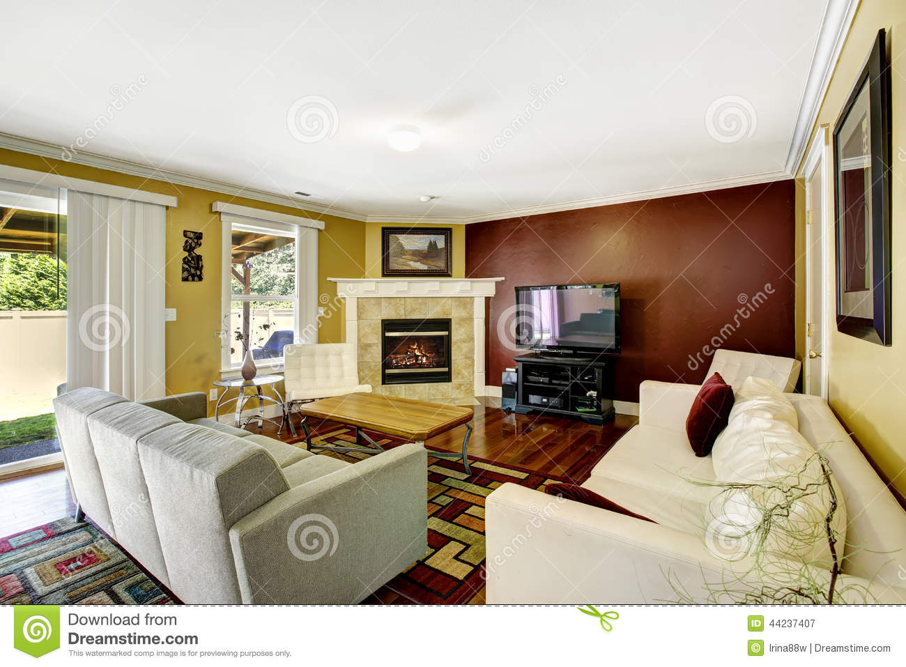 Home Interior With Contrast Color Walls
