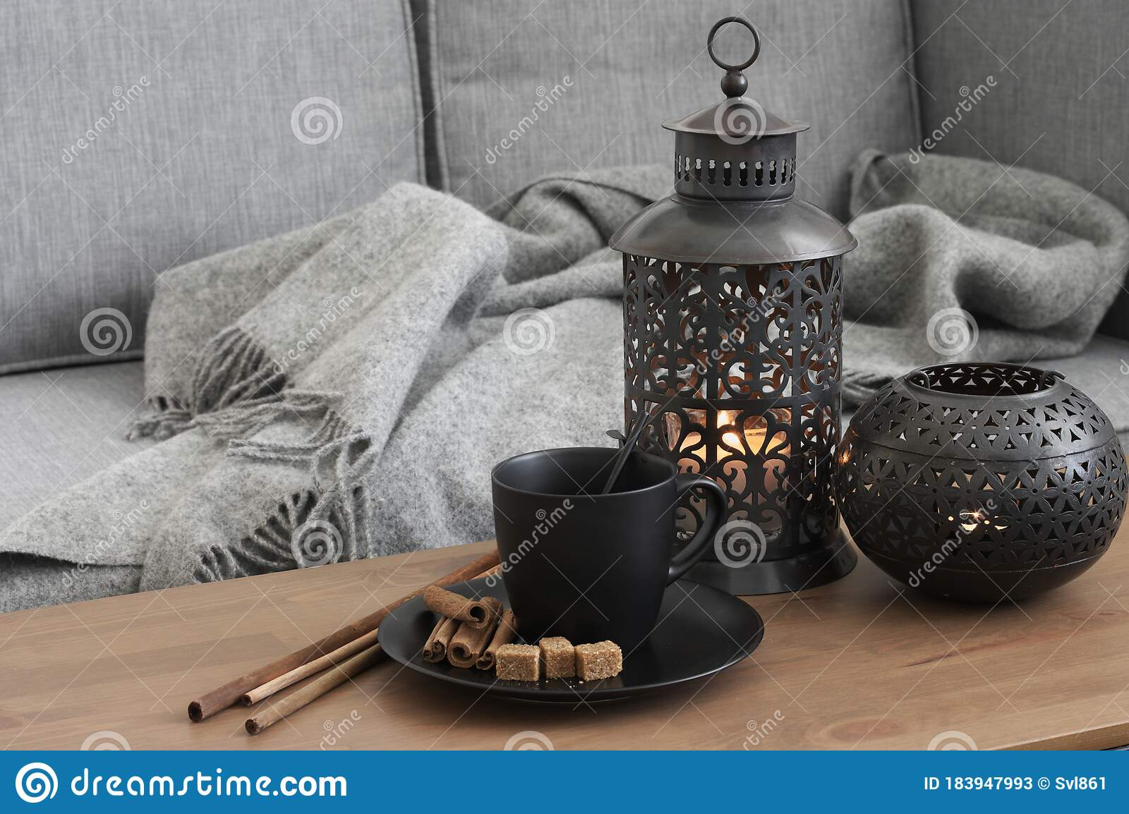 Home Interior Decor In Living Room Stock Image Image Of Black Mood 183947993