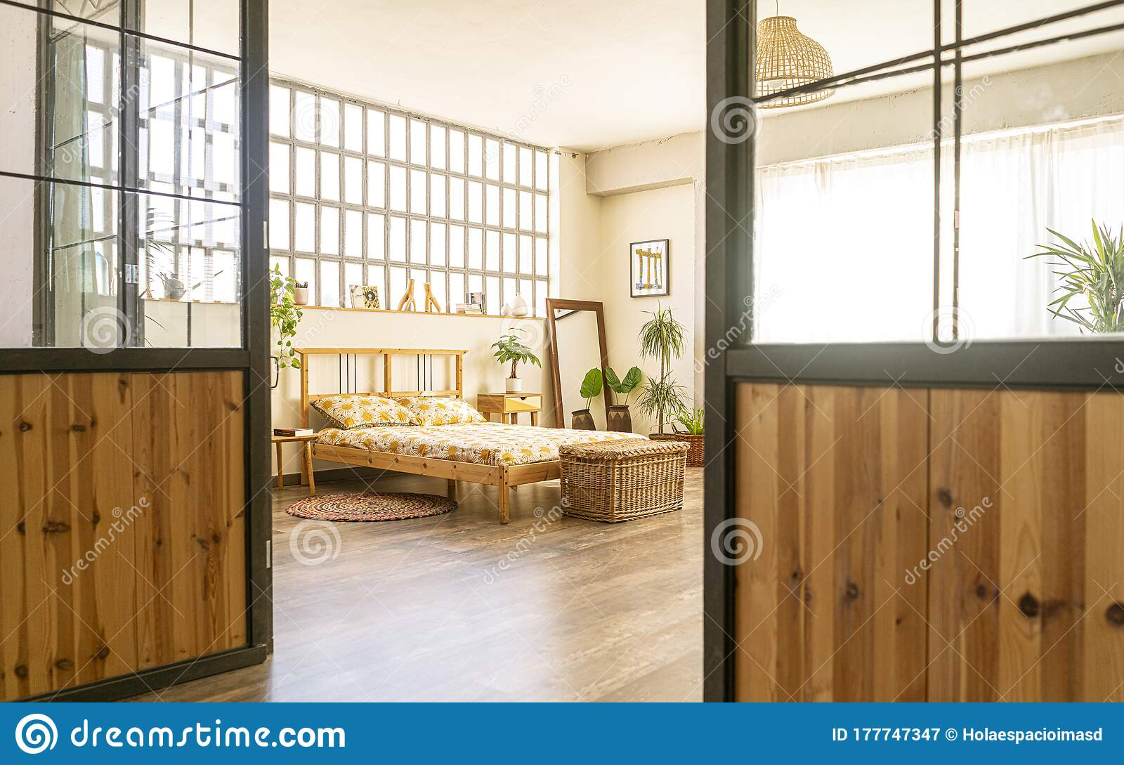 Home Interior Design Decoration Beaufitul Bedroom With Wooden Furniture And Large Windows View Through The Door Stock Image Image Of Apartment Open 177747347