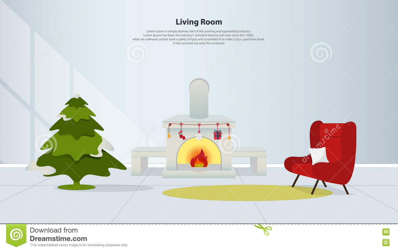 Rc Furniture Interior Design Stock Dealer ~ Living room with fireplace and an armchair royalty free