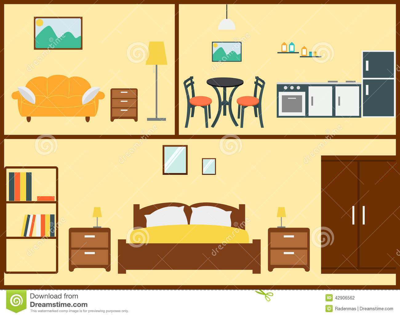 Home interior design stock vector illustration of for Make interior design online