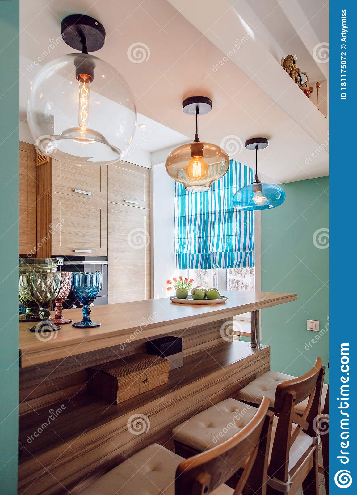 Home Interior Design For Kitchen With Bar Counter Stock Photo ...