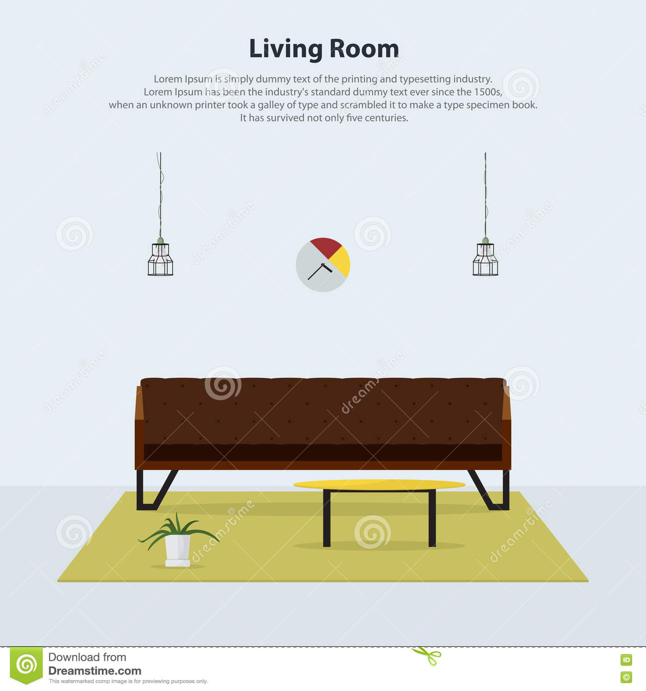 Vector Of Living Room Stock Vector Image Of Sofa: Home Interior Design. Modern Living Room With Brown