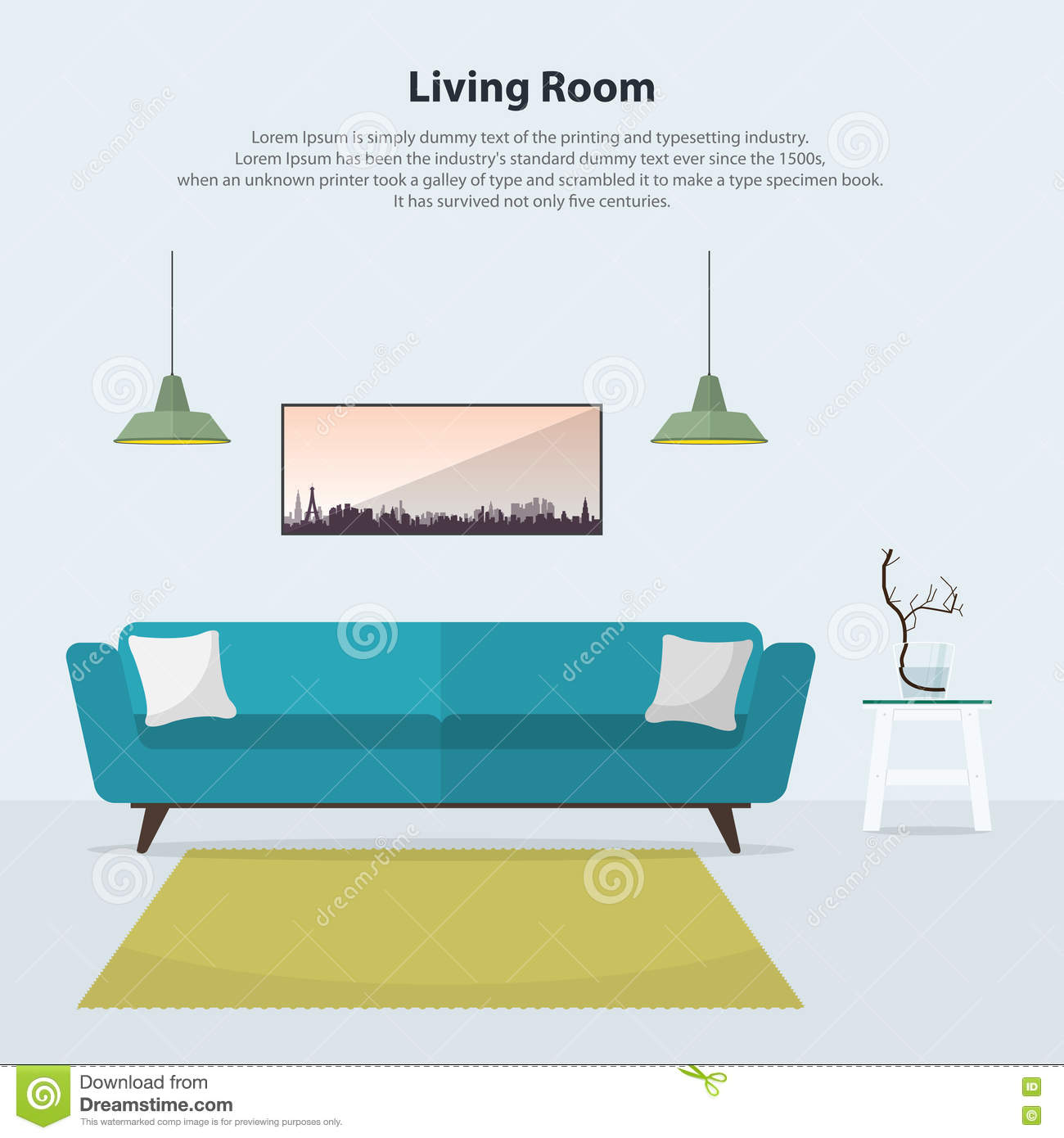 Interior Of Modern Living Room In Flat Design Stock Vector: Home Interior Design. Modern Living Room Interior With