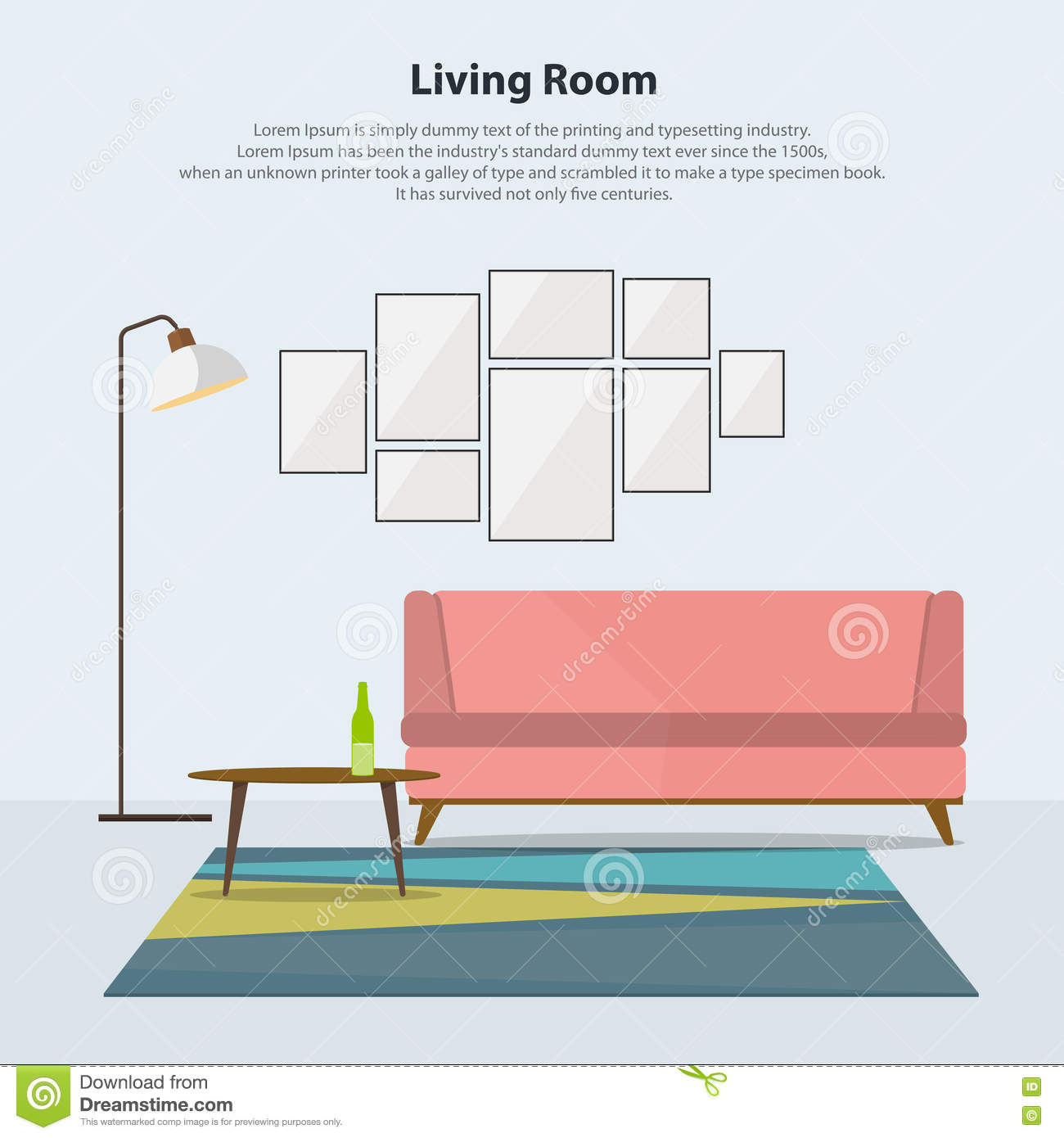 Home Interior Design Modern Living Room With Pink Sofa
