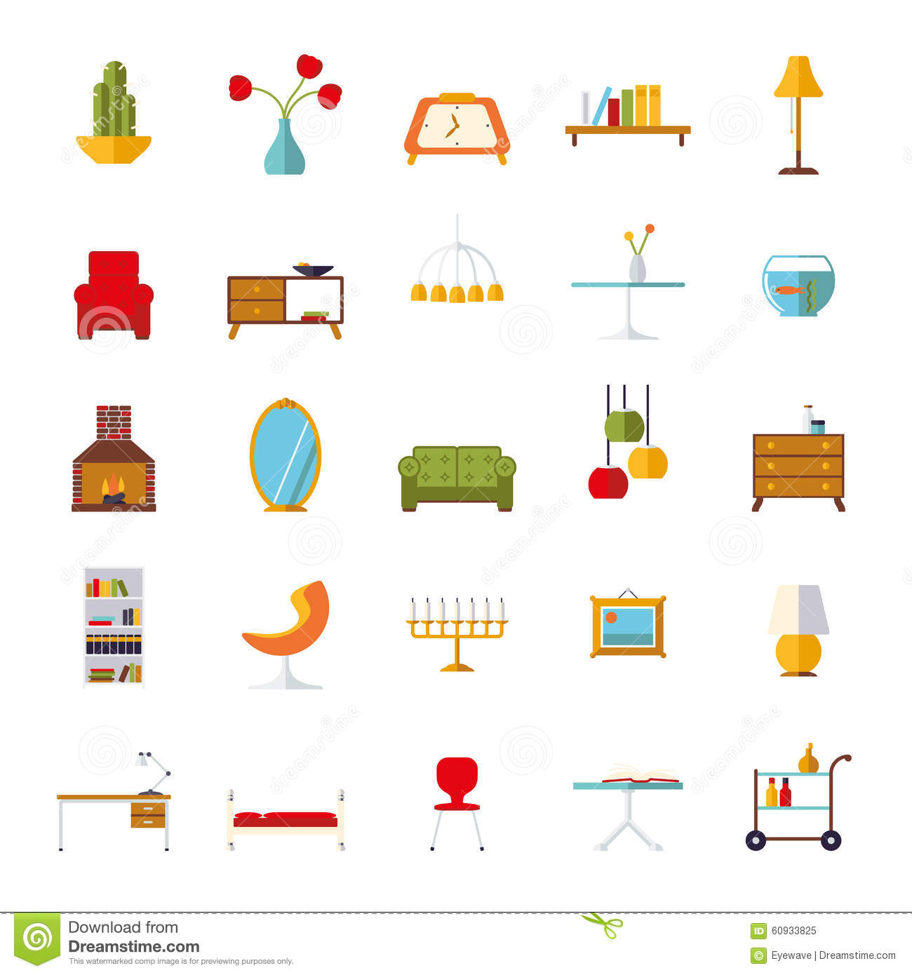 Home Interior Flat Design Vector Icons Collection Stock Vector - Illustration of design, coffee