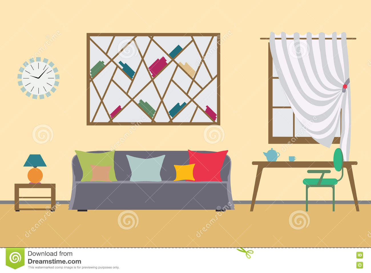 Flat interior workspace or home workplace vector for Room design vector