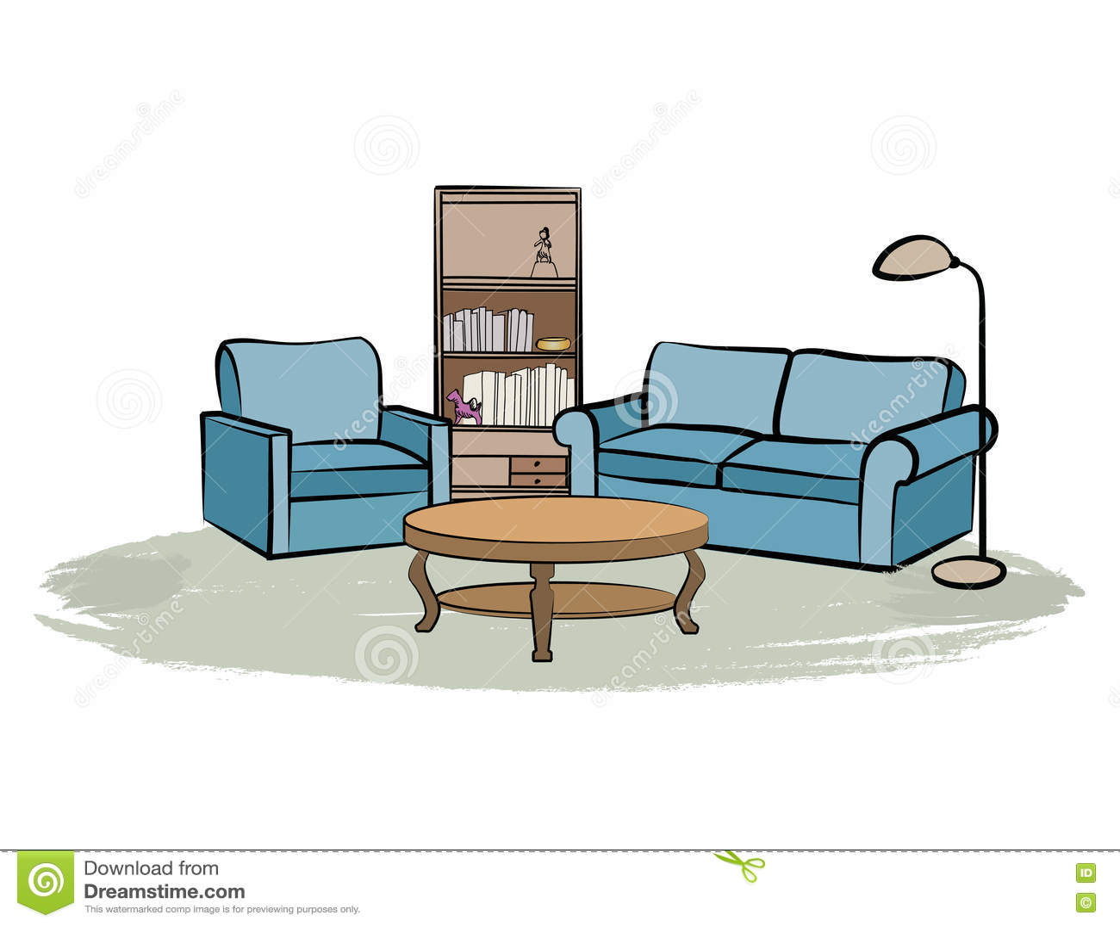 home interior furniture with sofa armchair table book shelf a armchair book books design drawing furniture home illustration interior
