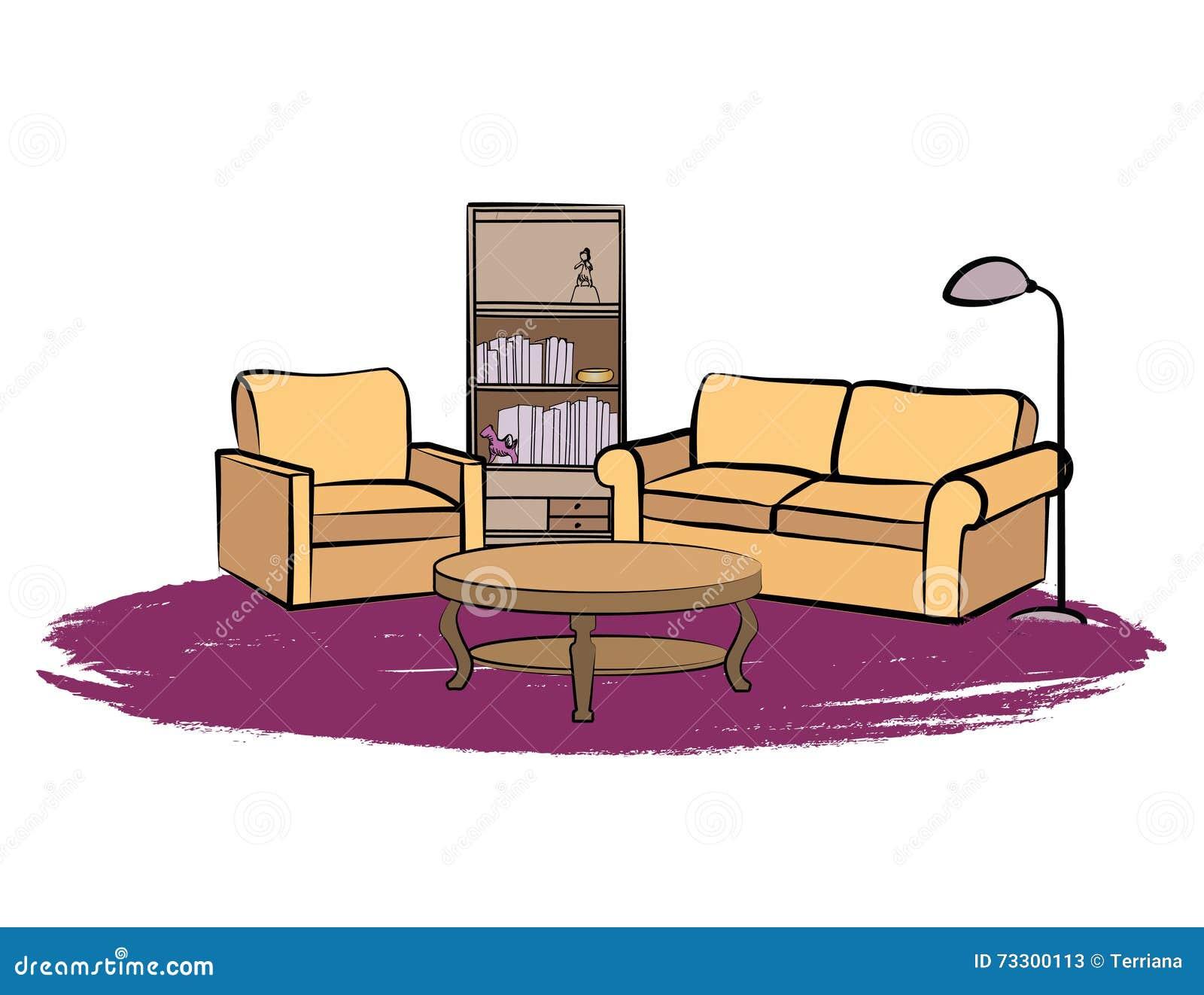 Living Room Interior Furniture With Sofa Floor Lamp