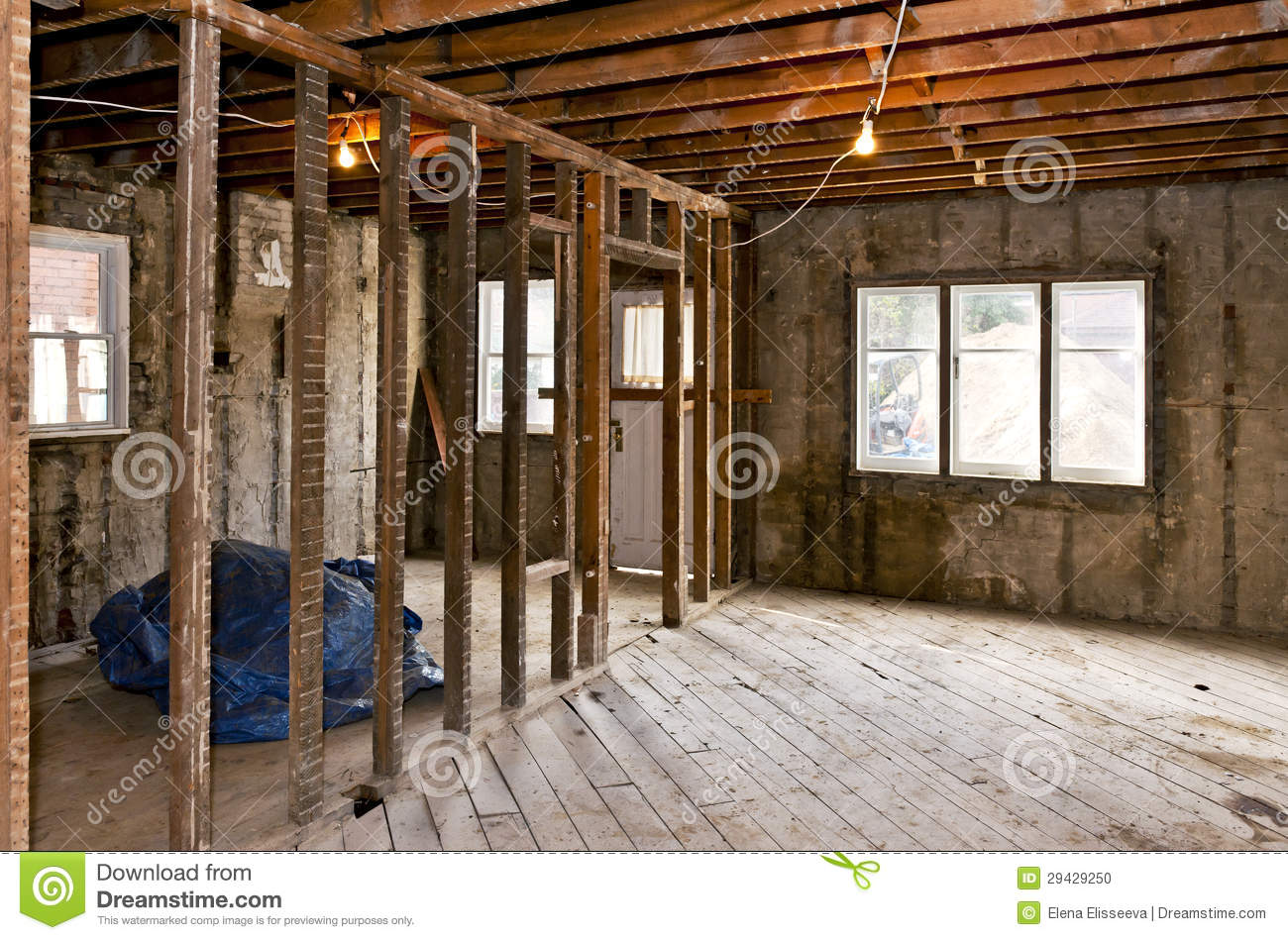 Home interior gutted for renovation stock photo image for Interior site