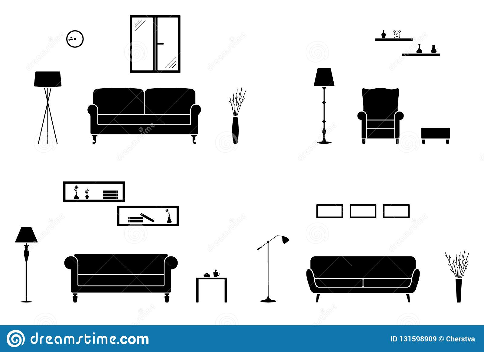 Home Interior Icon Set. Black And White Living Room ...