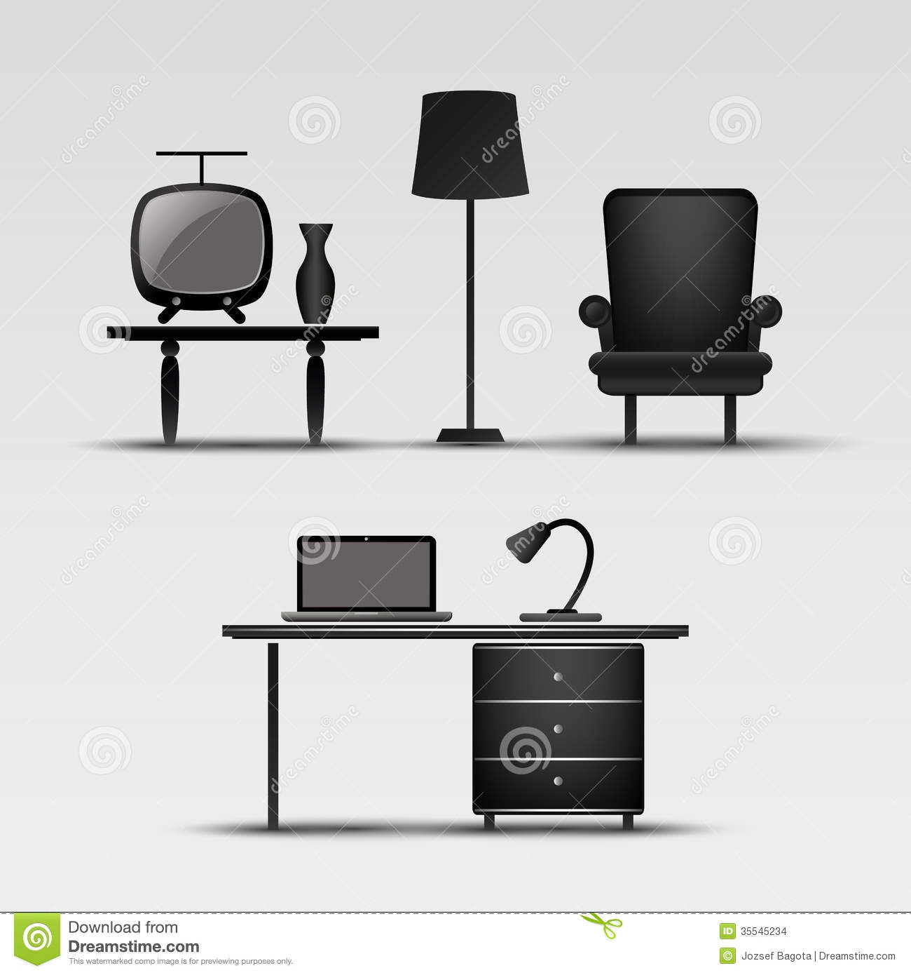 Home Interior Icons stock vector. Illustration of domestic ...