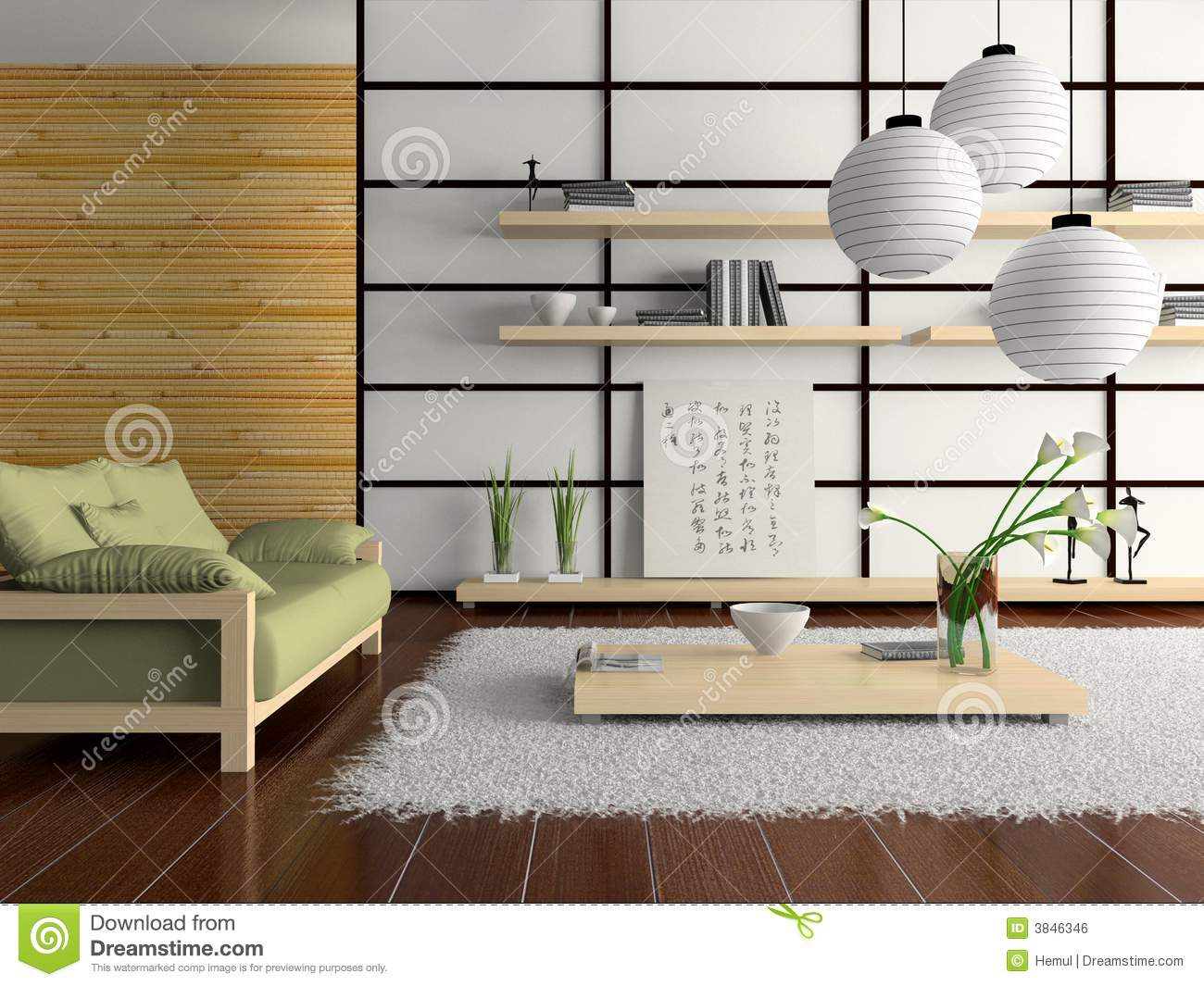 home interior in japanese style stock