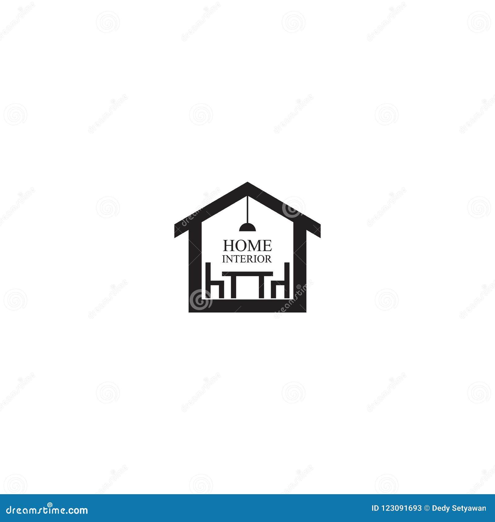 Home Interior Logo Design Vector Template Stock Vector