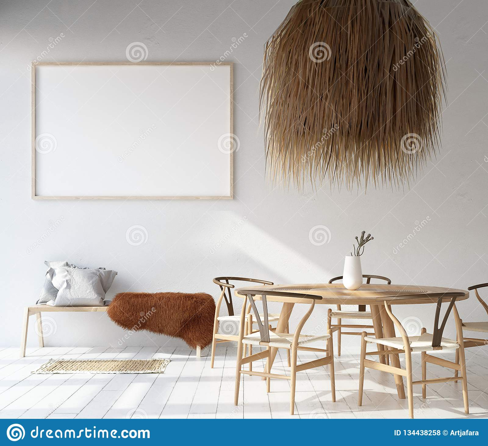 Home Interior With Poster Mockup Scandinavian Bohemian Style Stock