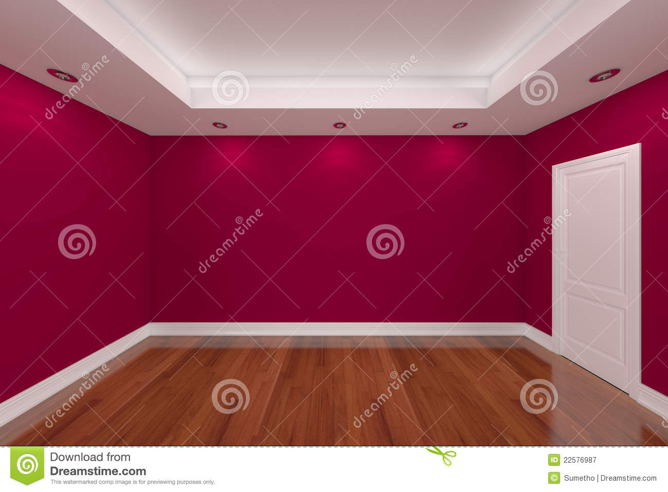 Home interior rendering with empty room color wall royalty - Couleur de maison ...