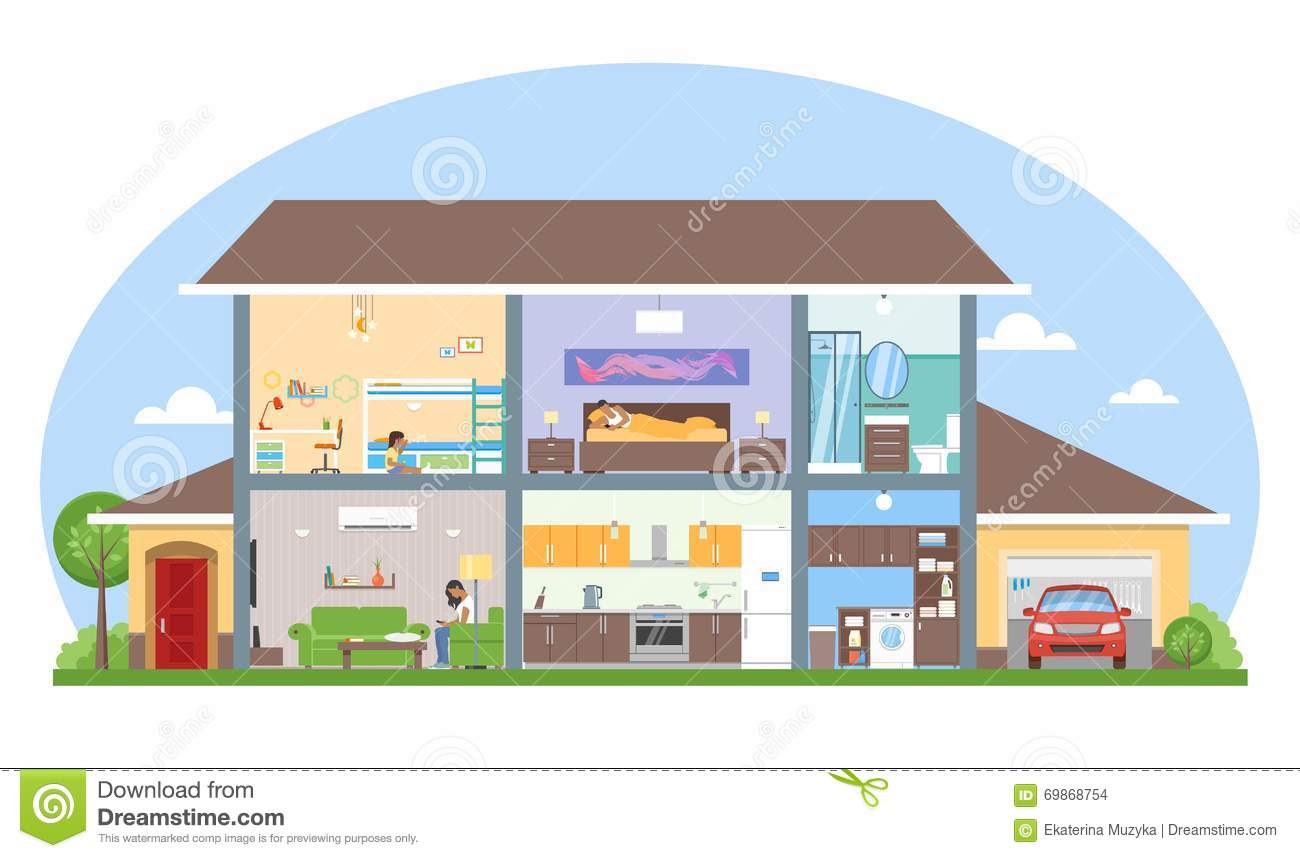 Home interior with room furniture vector illustration for Interior house design clipart
