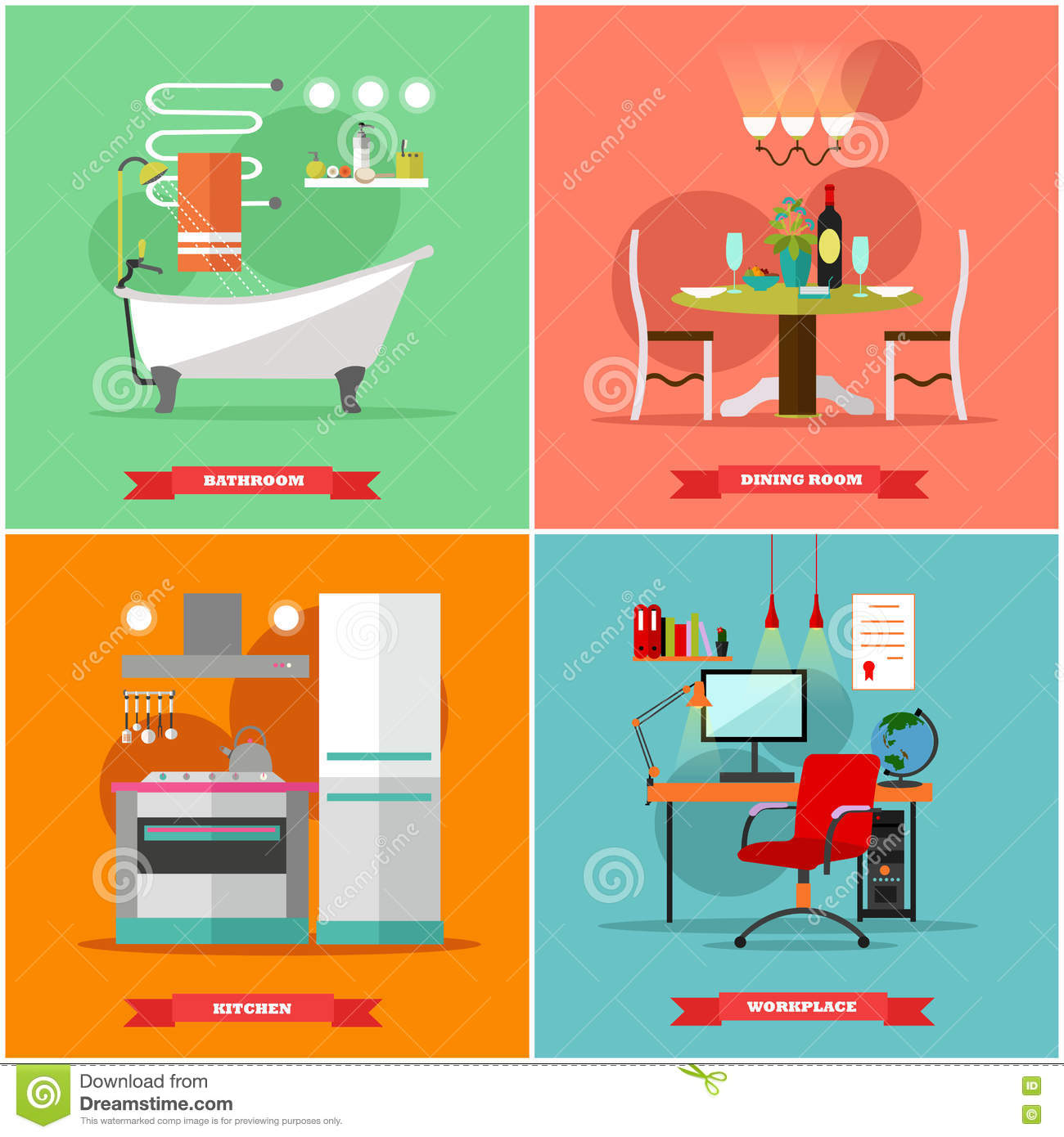 All rooms in the house rooms of homes vector art image illustration - Home Interior Vector Illustration In Flat Style House Design With Furniture Kitchen Bathroom
