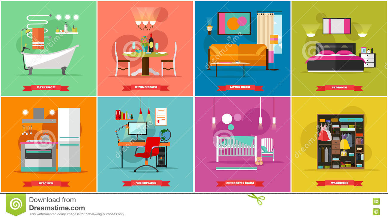 All rooms in the house rooms of homes vector art image illustration - Bathroom Design Dining Flat Furniture Home House Illustration Interior Kitchen Room Vector Workplace Apartment Concept Towel Colorful Couch Graphic