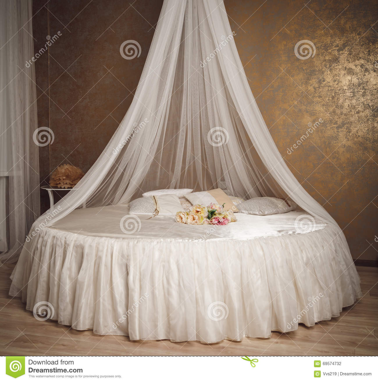 Home Interior With White Circle Bed Canopy