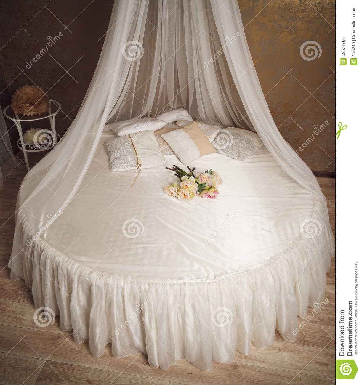 Home Interior With White Circle Bed With Canopy Stock Photo ...