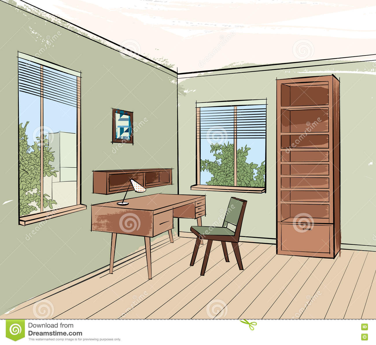 Home interior work place furniture living room sketch for Window design sketch