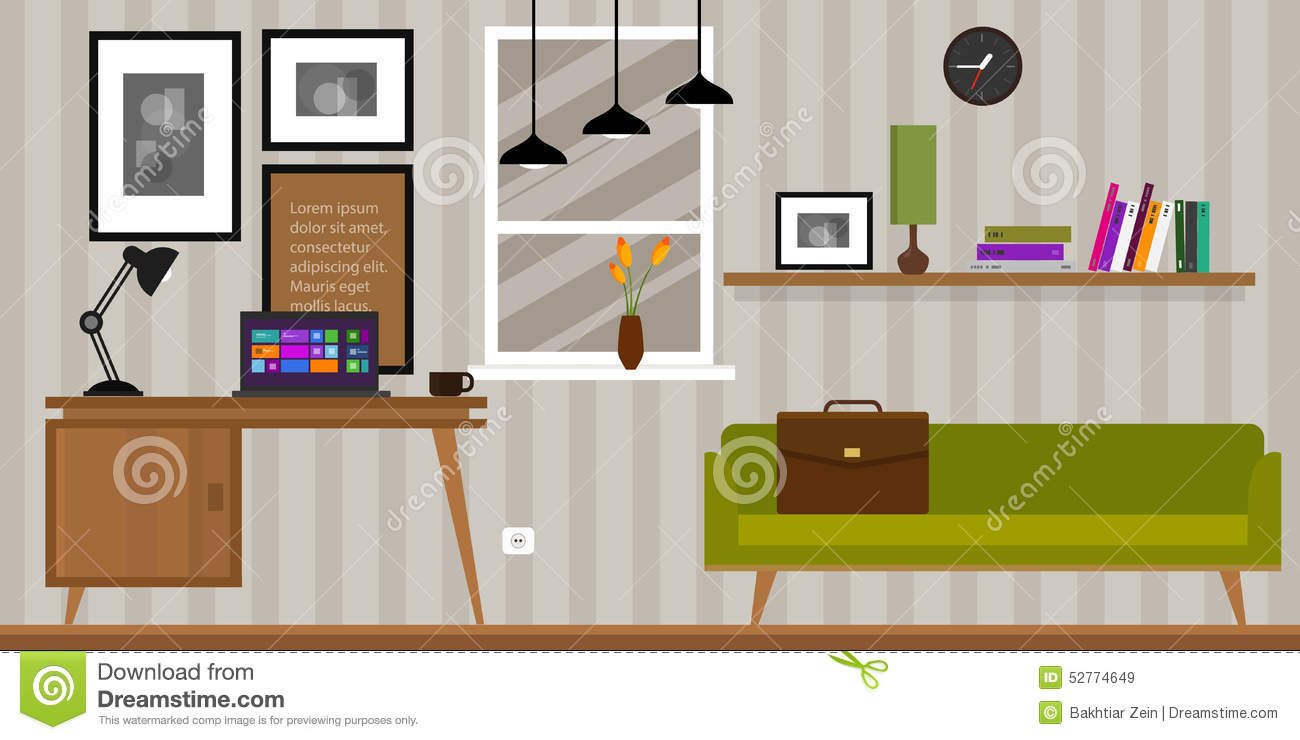 Home interior work space table and sofa stock vector for Home interior work