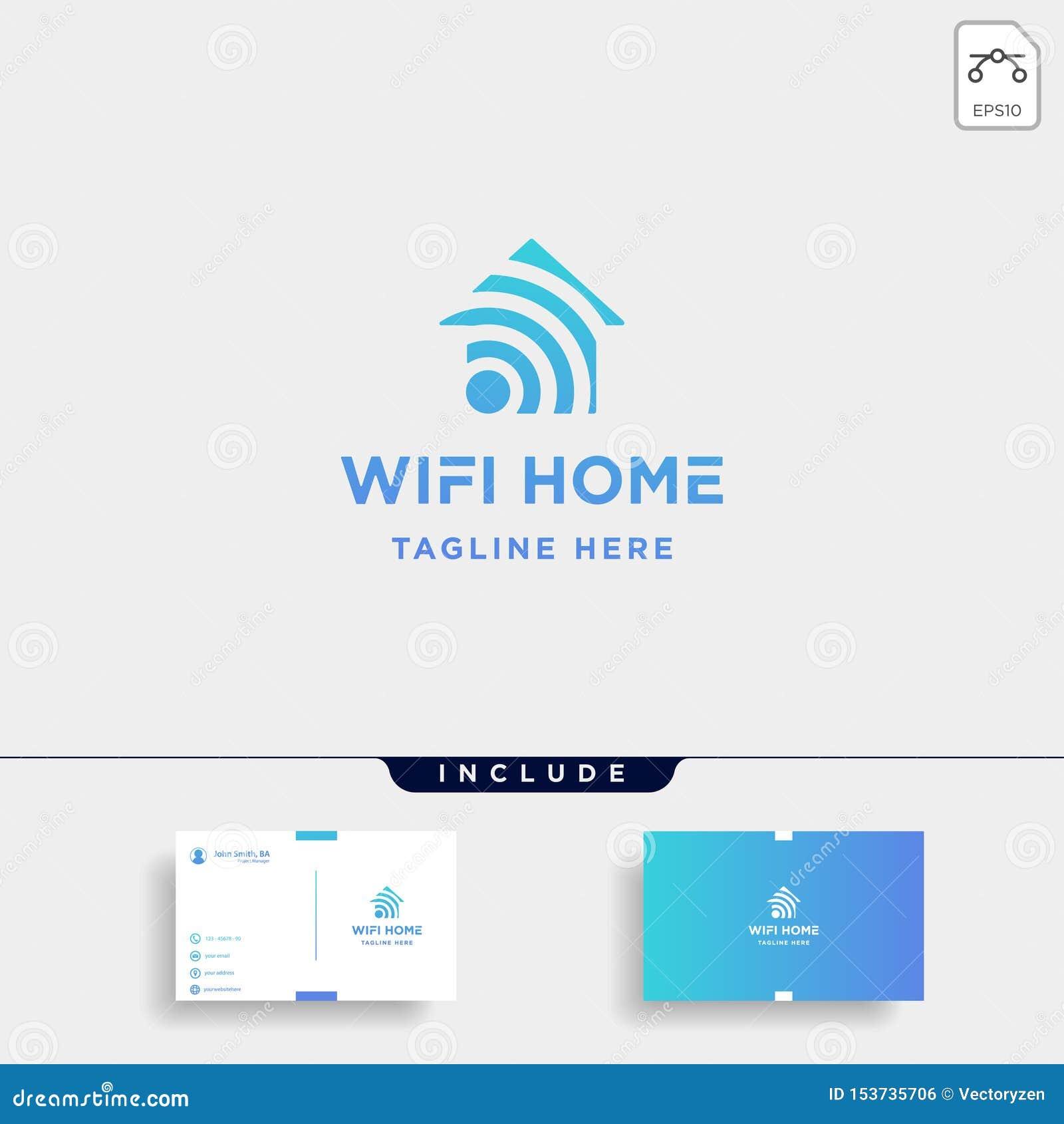 Home Internet Logo Design Vector Wifi House Icon Siymbol