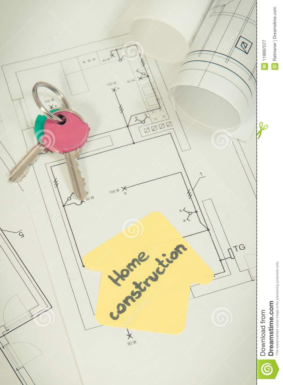 Download Home Keys, House Shape With Text Home Construction And Electrical  Diagrams Stock Image -