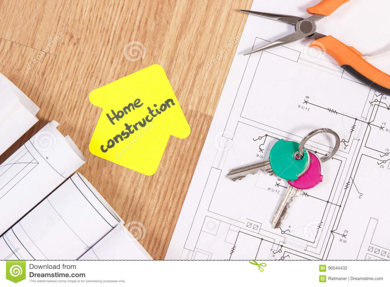 Home Keys, Metal Pliers, Electrical Drawings And House Shape With ...