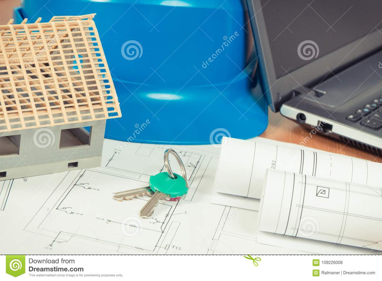 Home Keys, Small House, Electrical Diagrams With Laptop For Engineer ...