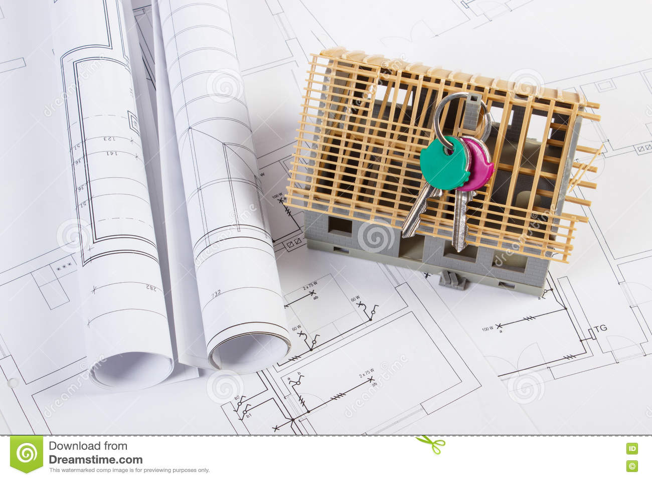 Home Keys, Small House Under Construction And Electrical Drawings ...