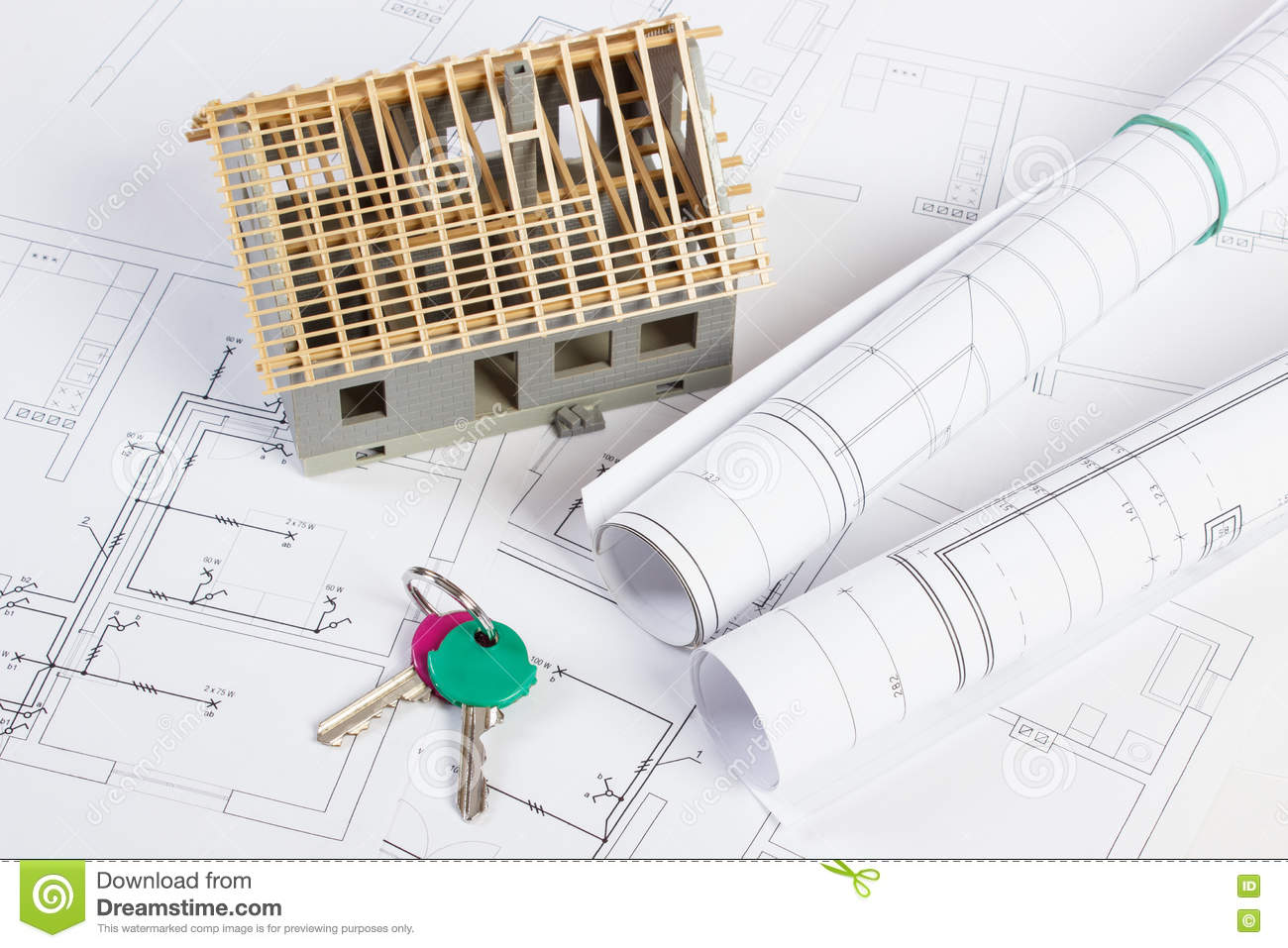 Home Keys Small House Under Construction And Electrical Drawings Diagram Building Concept