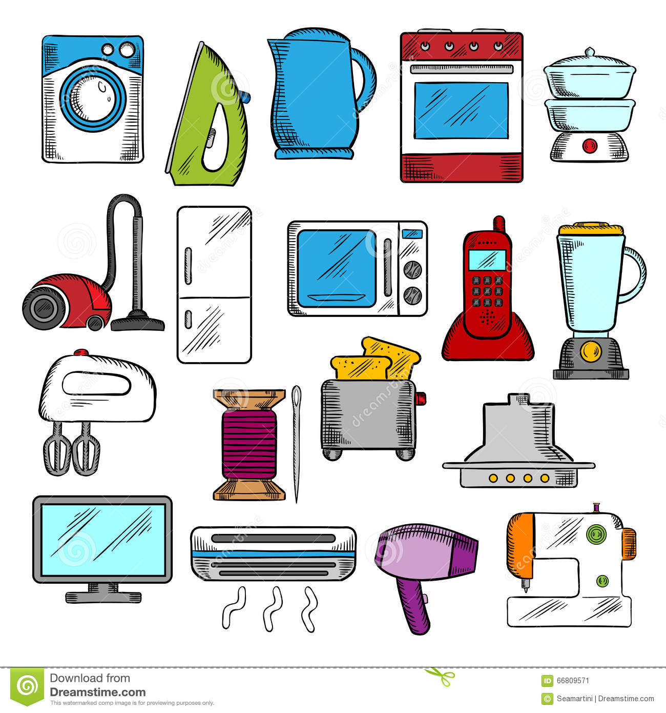 Kitchen Appliances Clip Art ~ Home and kitchen appliances icons stock vector
