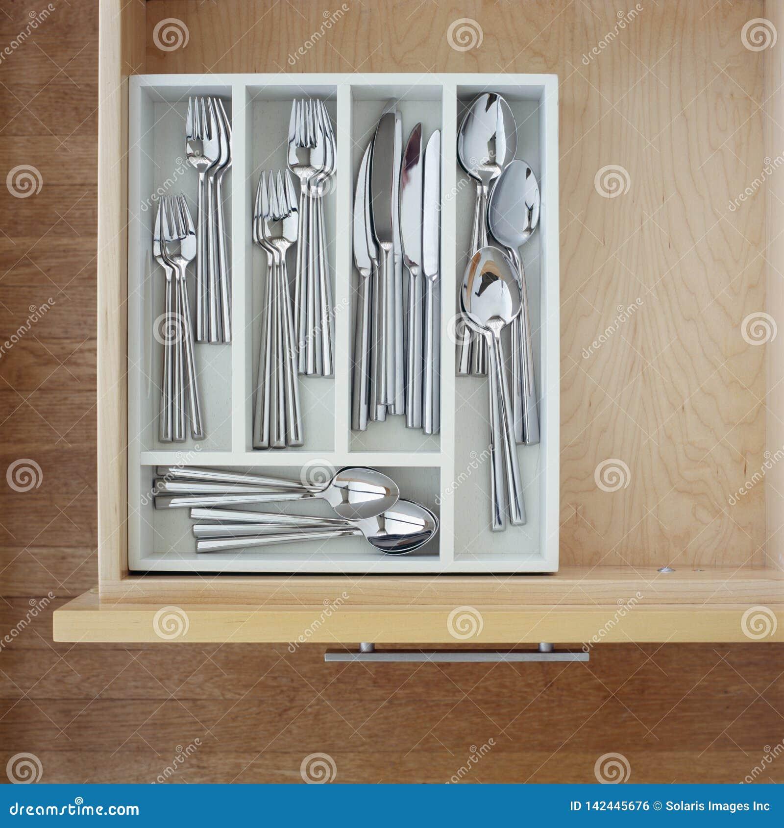Clean Silverware Utensils In Kitchen Drawer Neat Tidy